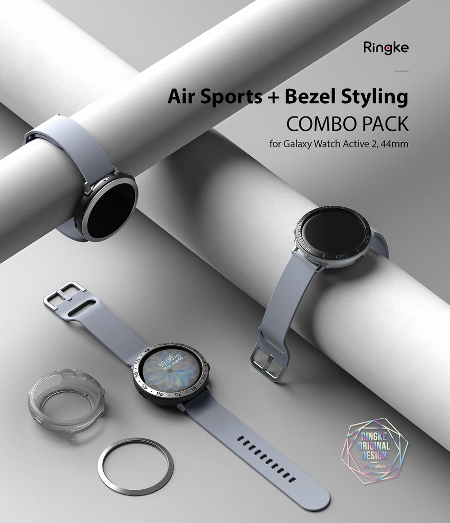 galaxy watch active 2 case air sports + bezel styling combo : black + 30