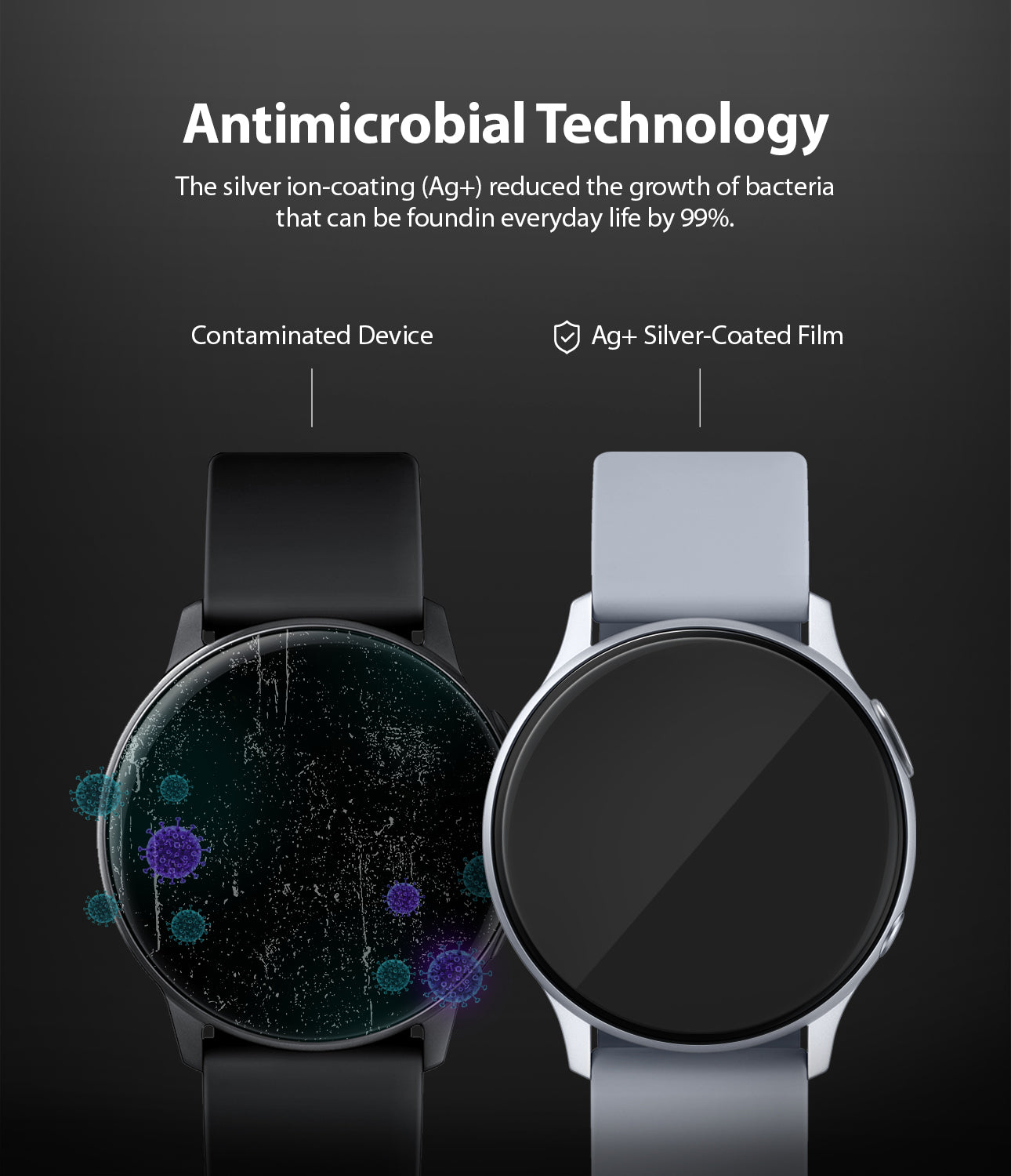 antimicrobial technology : the silver ion-coating reduces the growth of bacteria that can be found in everyday life by 99%