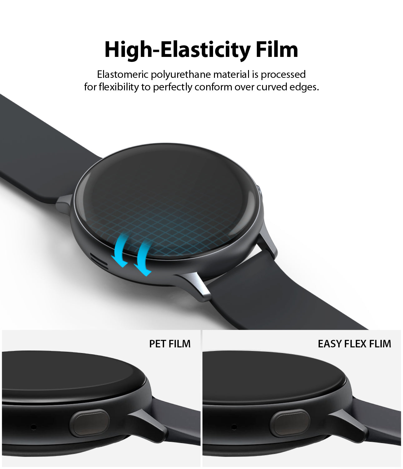 high elasticity film : elastomeric polyurethane material is processed for flexibility to perfectly conform over curved edges