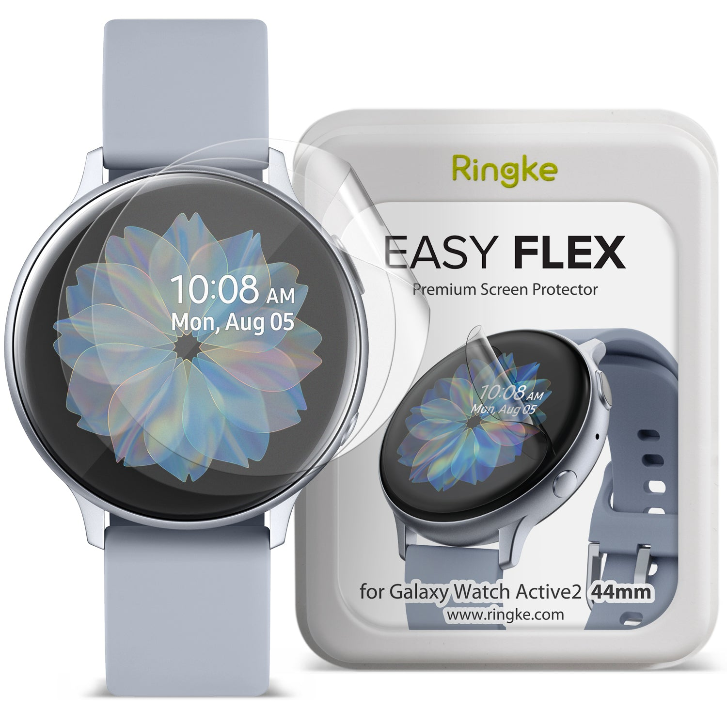 samsung galaxy watch active 2 44mm screen protector - ringke easy flex [3 pack]