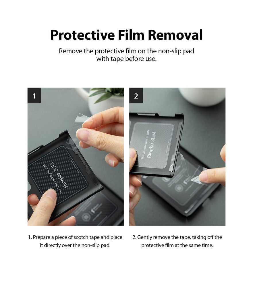 remove the protective film on the non-slip pad with tape before use