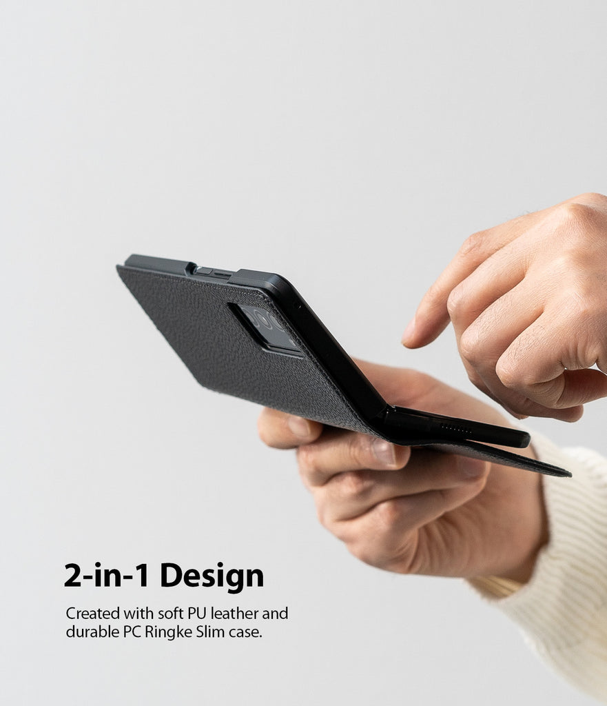 2-in-1 design : created with soft PU leather and durable PC ringke slim case