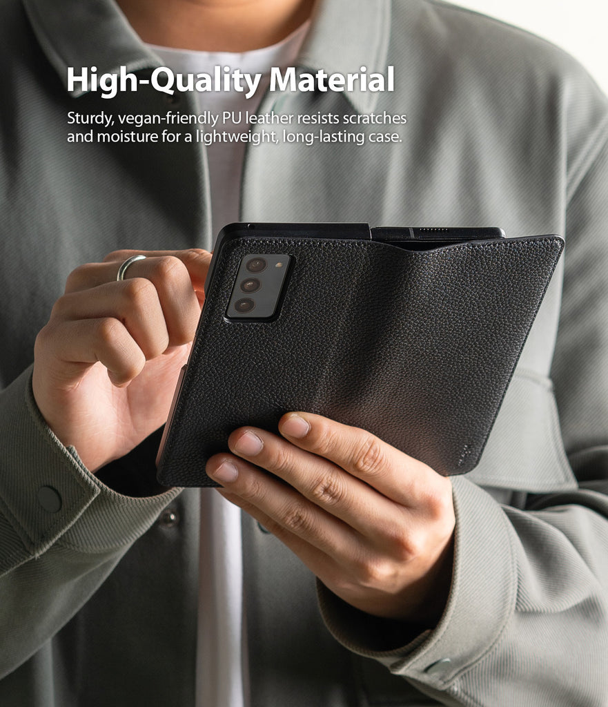 sturdy, vegan friendly pu leather resists scratches and moisture for a lightweight, long-lasting case