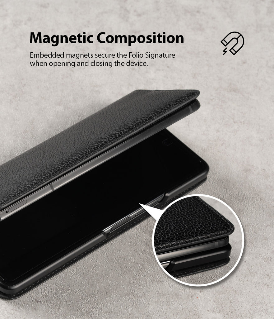 magnetic composition - embedded magnets secure the folio signature when opening and closing the device