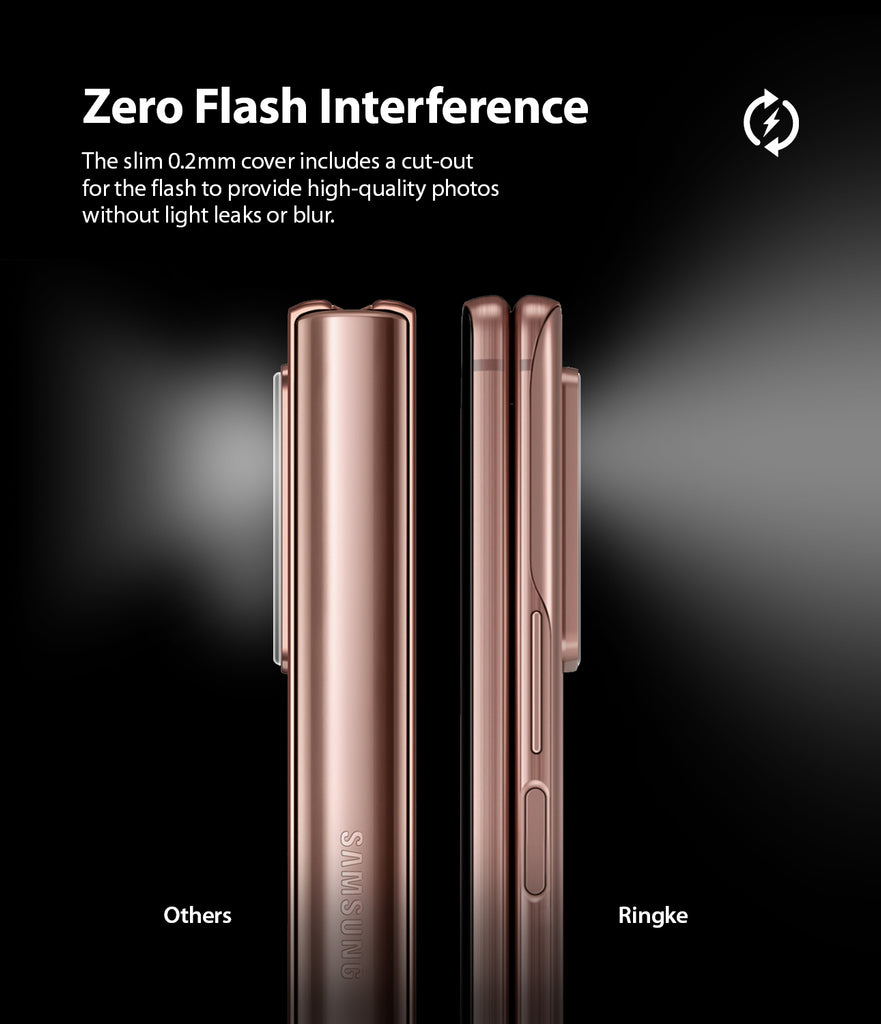 the slim 0.2mm cover includes a cut-out for the flash to provide high-quality pictures without light leaks or blur