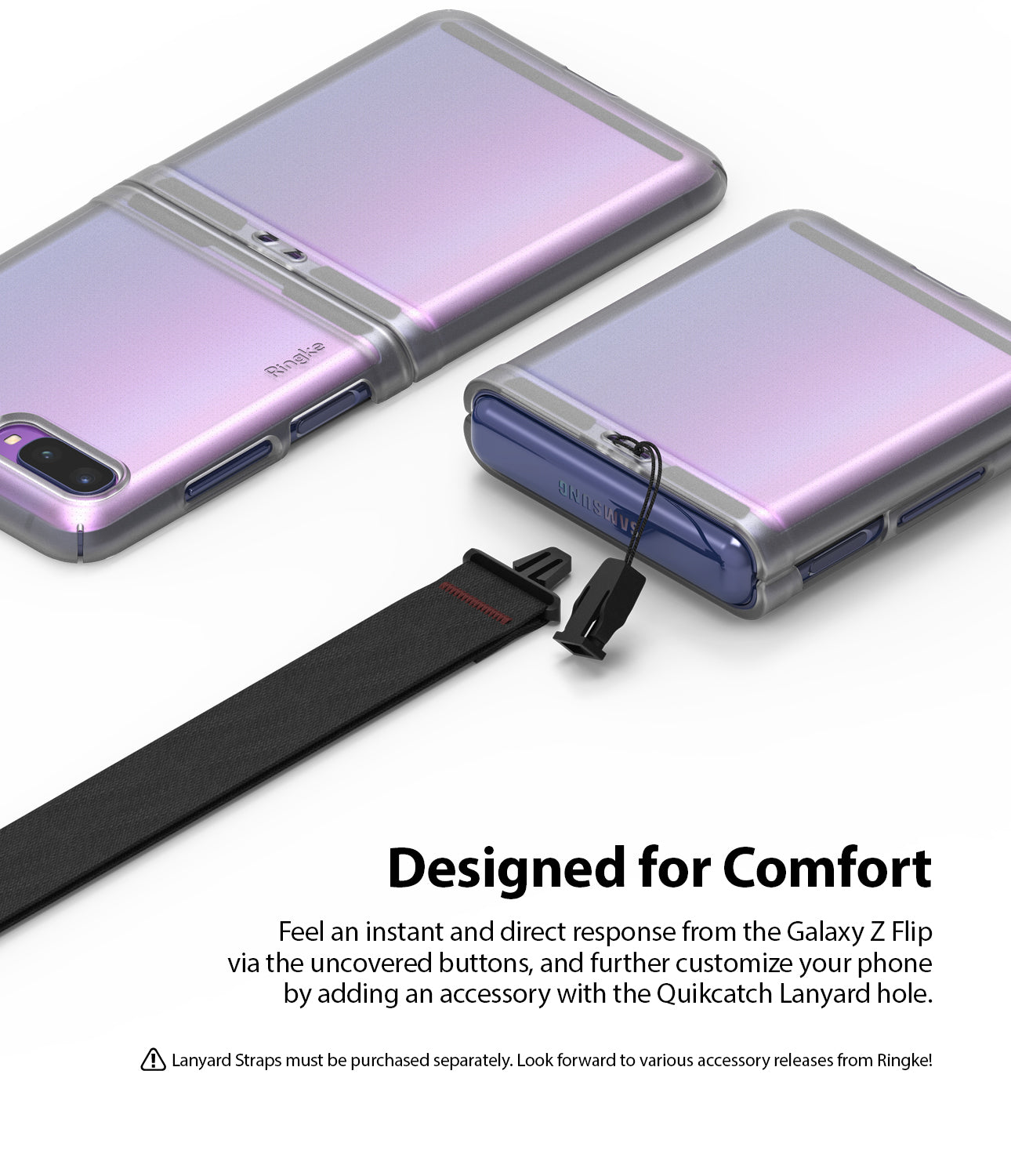 samsung galaxy z flip case quikcatch strap hole