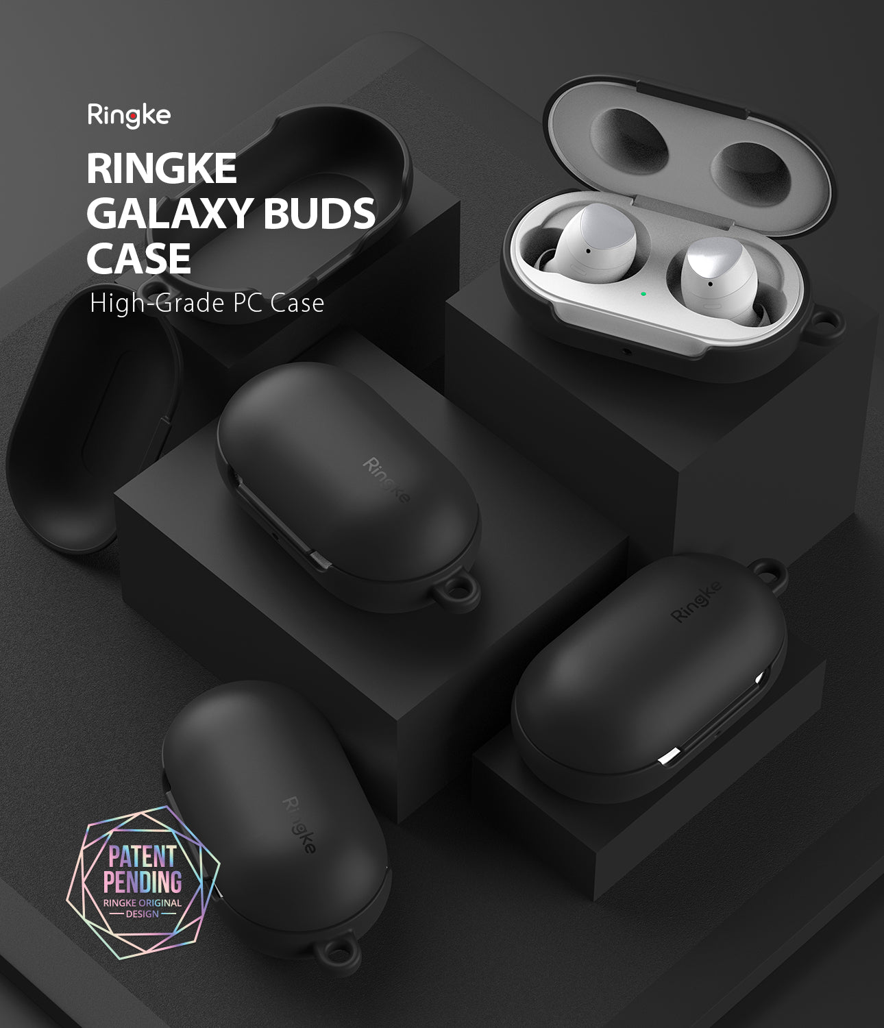 ringke galaxy buds and buds plus case made of pc with soft feeling coating with carabiner