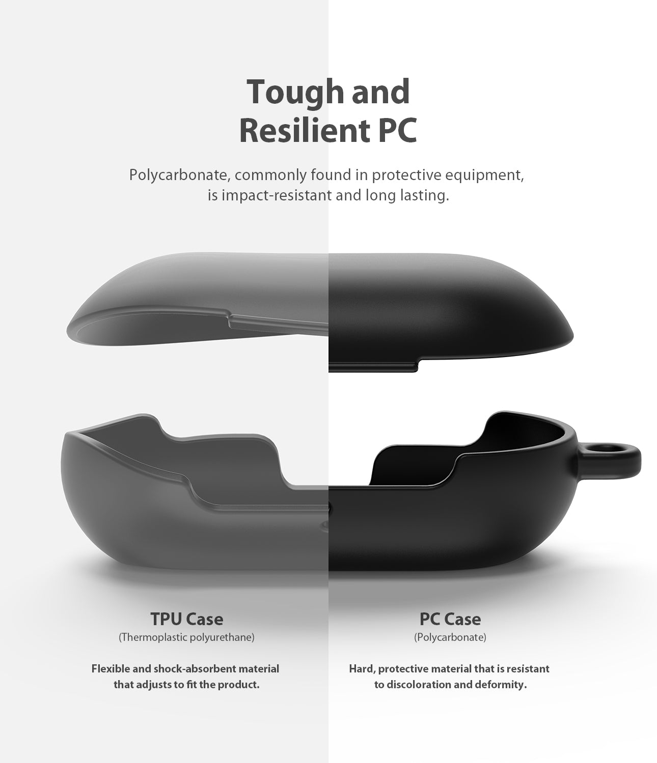 ringke galaxy buds and buds plus case made of tough and resilient pc with soft feeling coating with carabiner