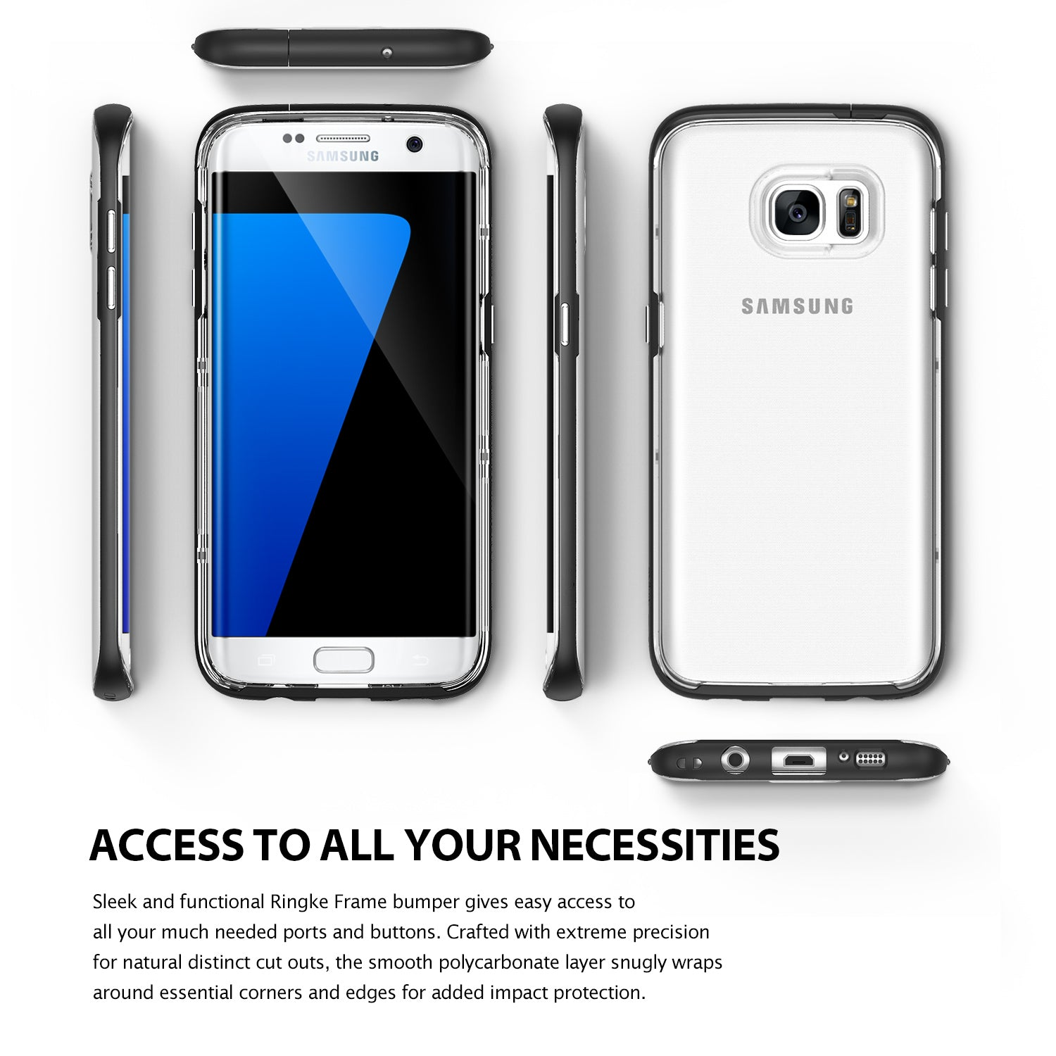 ringke frame clear back advanced bumper protection cover case for galaxy s7 edge