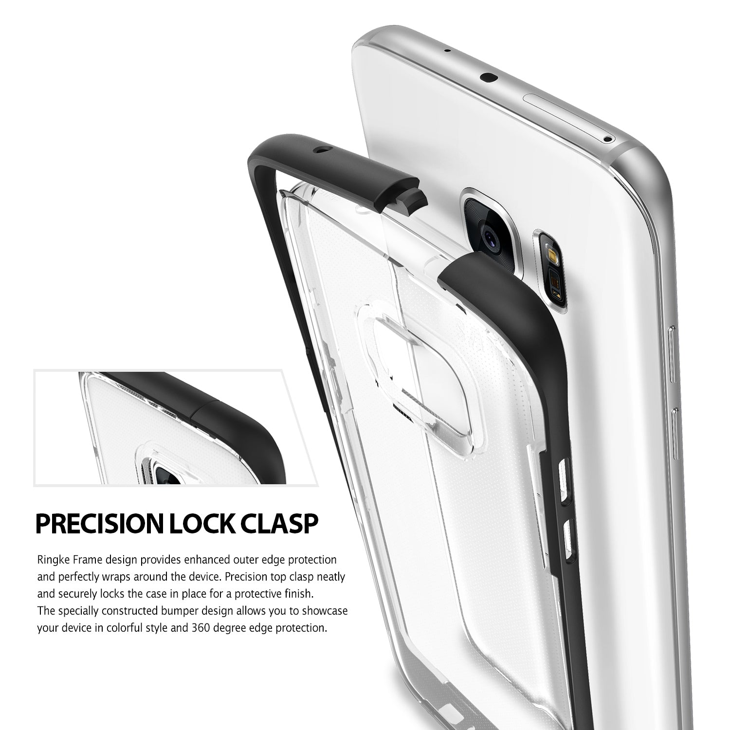 Galaxy S7 Edge Case, Ringke® [FUSION FRAME] Crystal Clear PC Back TPU Bumper Case