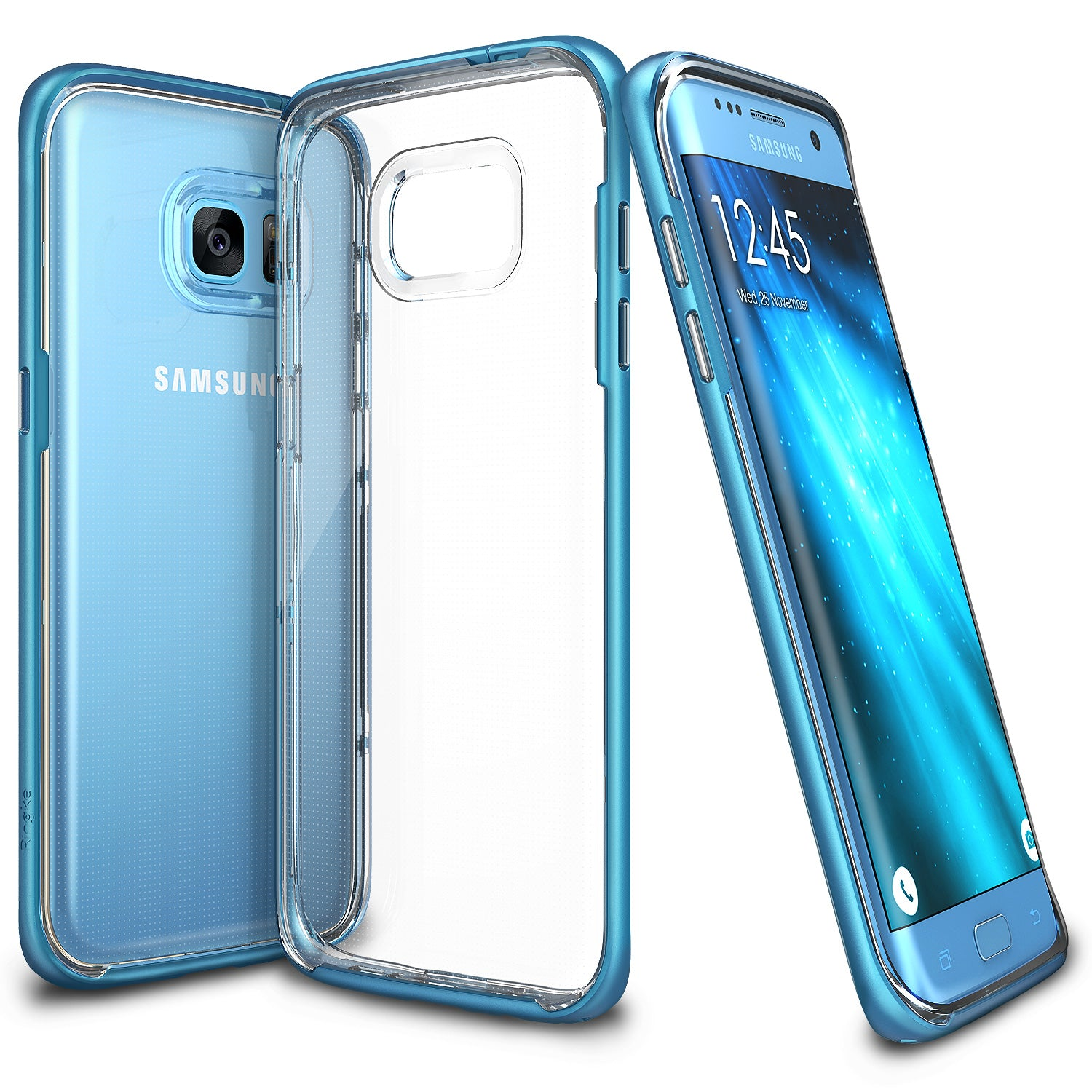 ringke frame clear back advanced bumper protection cover case for galaxy s7 edge ocean blue