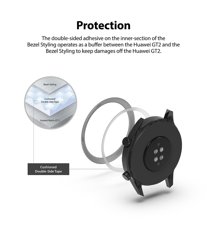 protection provided with the double sided adhesive on the inner section of the bezel styling