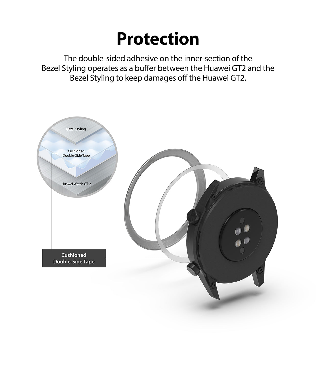 protection - double sided adhesive on the inner section of the bezel styling operates as a buffer