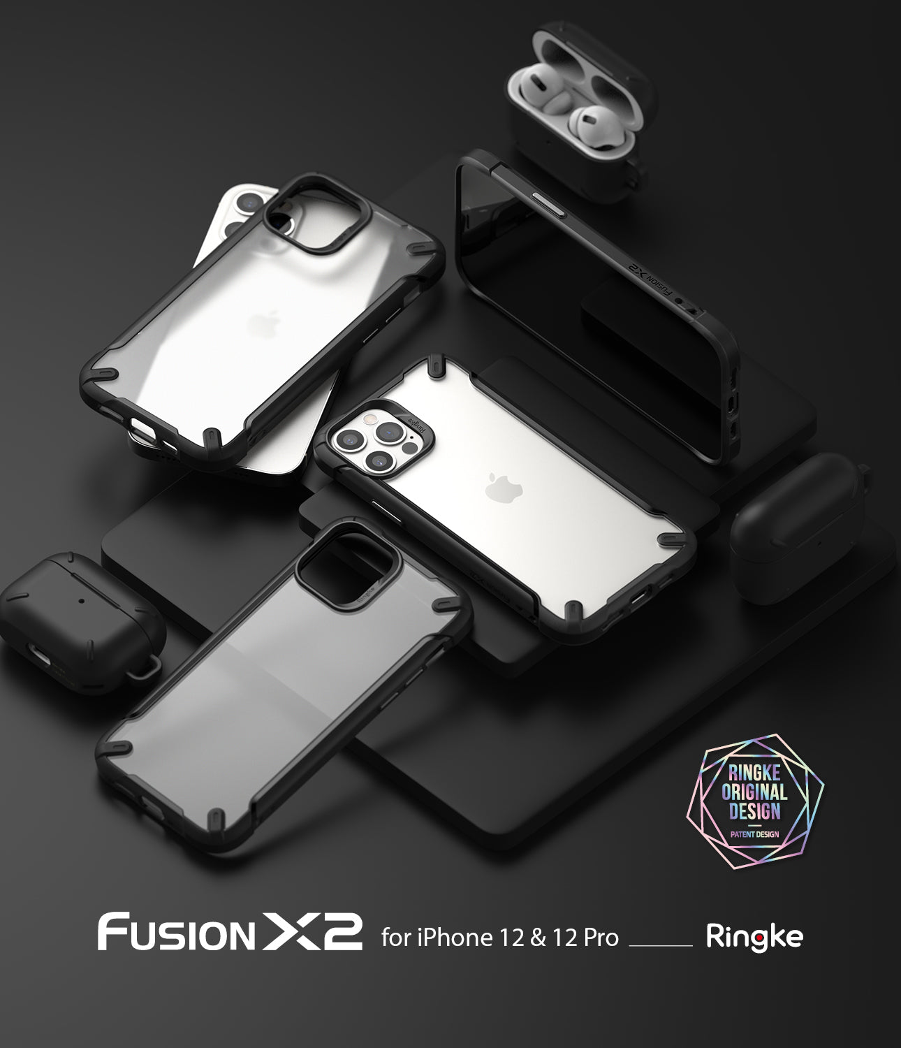 iphone 12 case, iphone 12 case, ringke fusion-x2 black
