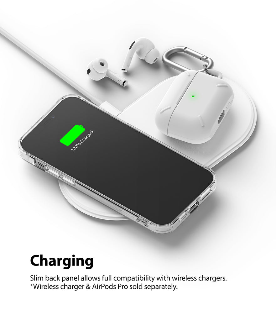 slim back panel allows full compatibility with wireless charging