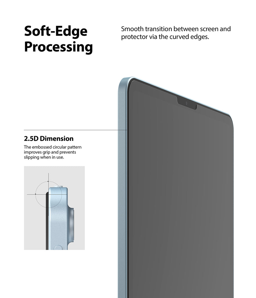 smooth transition between screen and protector via the curved edges