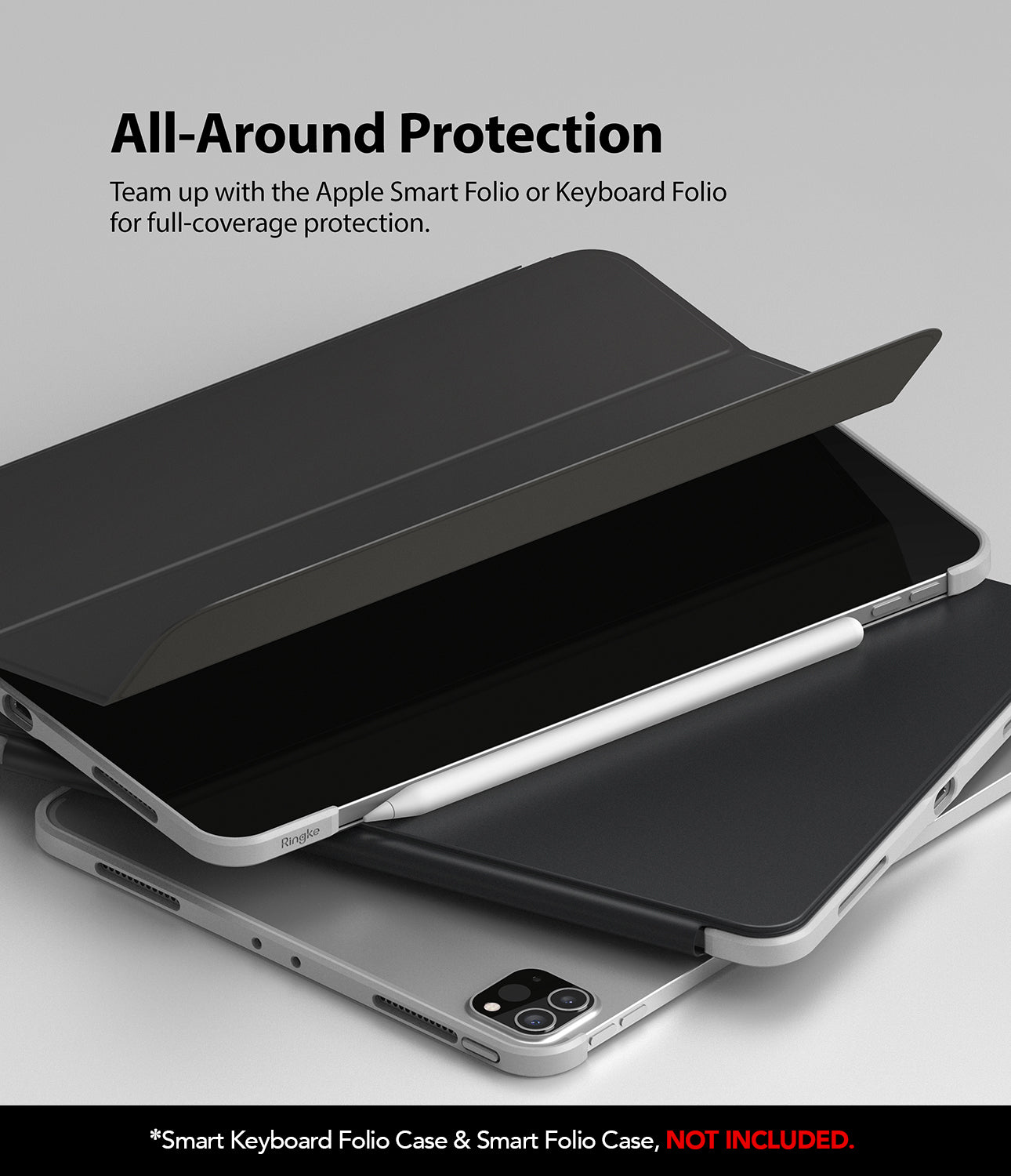 team up with apple smart folio or keyboard folio for full-coverage protection