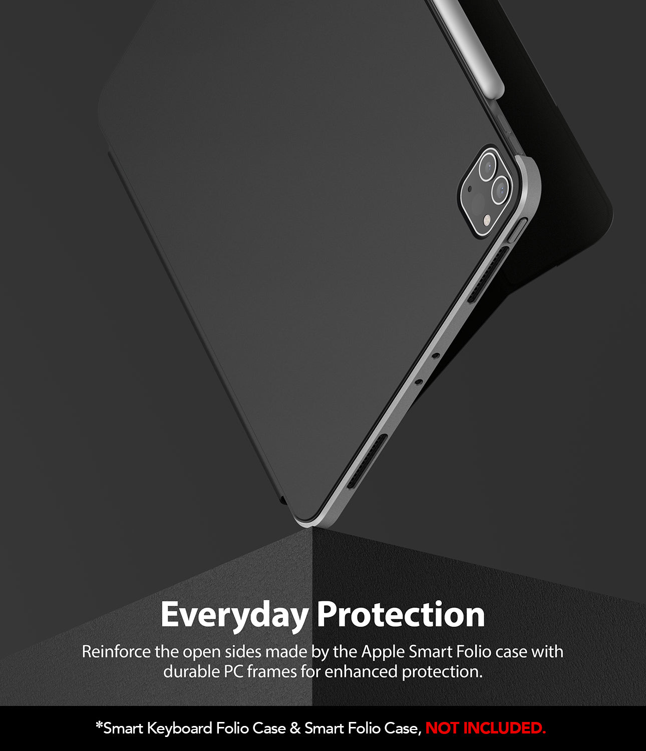 reinforce the open sides by the apple original folio case with durable pc frames for enhanced protection