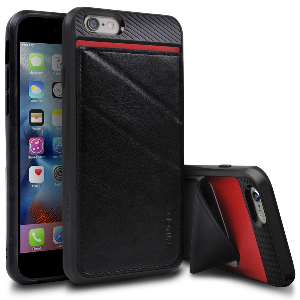 ringke edge leather wallet stand case cover for iphone 6 6s main black