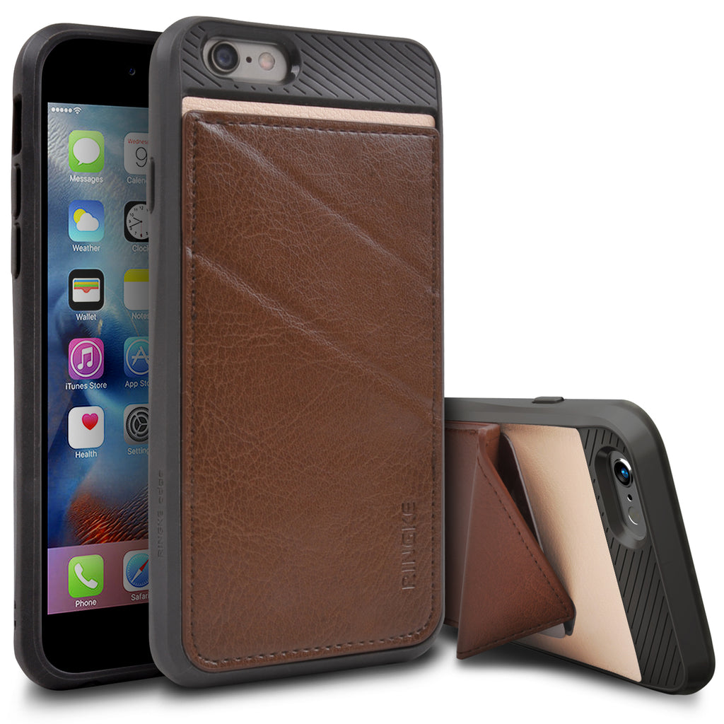 ringke edge leather wallet stand case cover for iphone 6 6s main brown