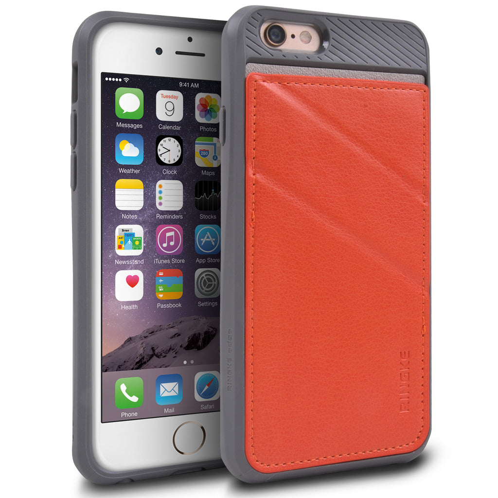 ringke edge leather wallet stand case cover for iphone 6 6s main orange