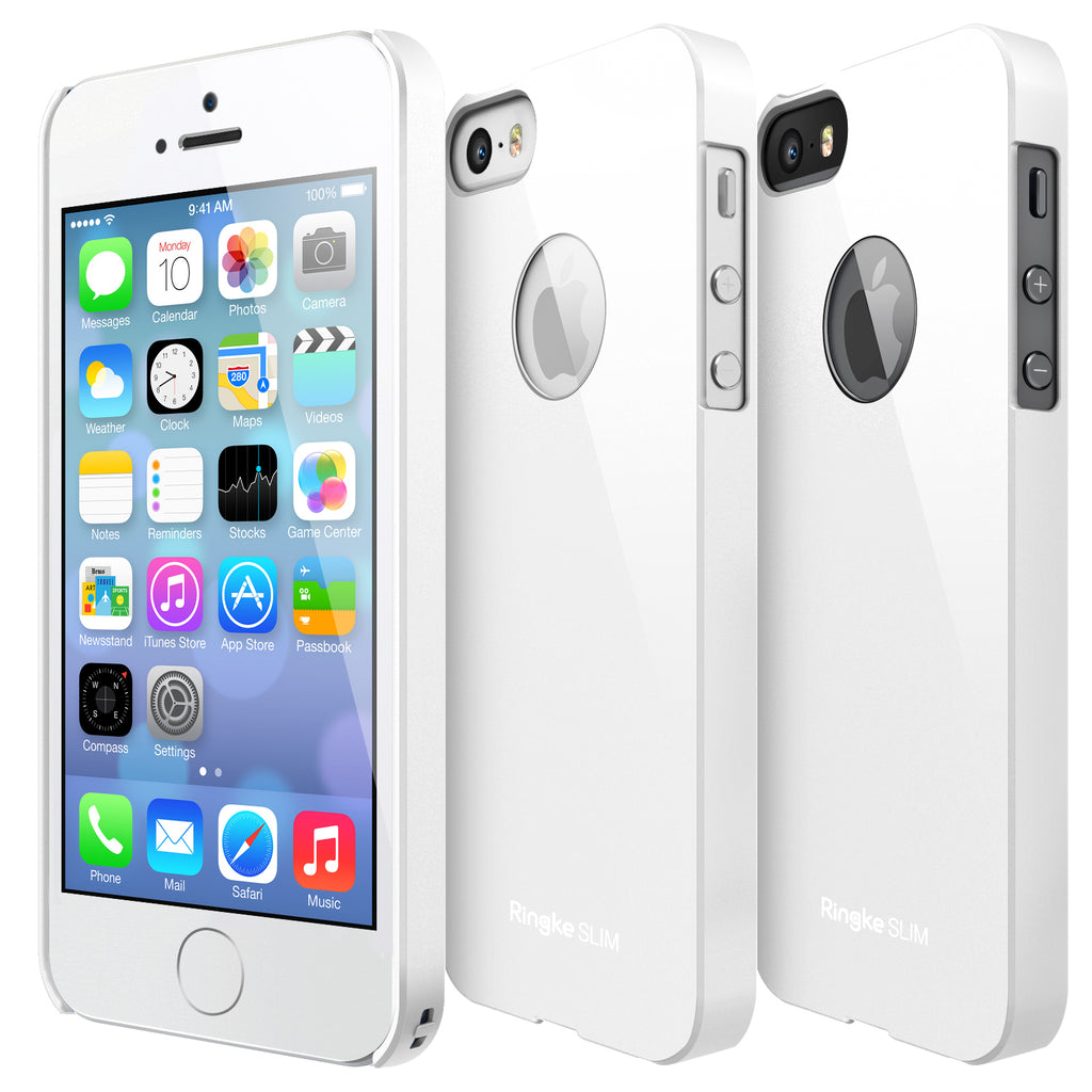 ringke slim logo cut lightweight hard pc thin case cover for iphone se 5s 5 main lf white