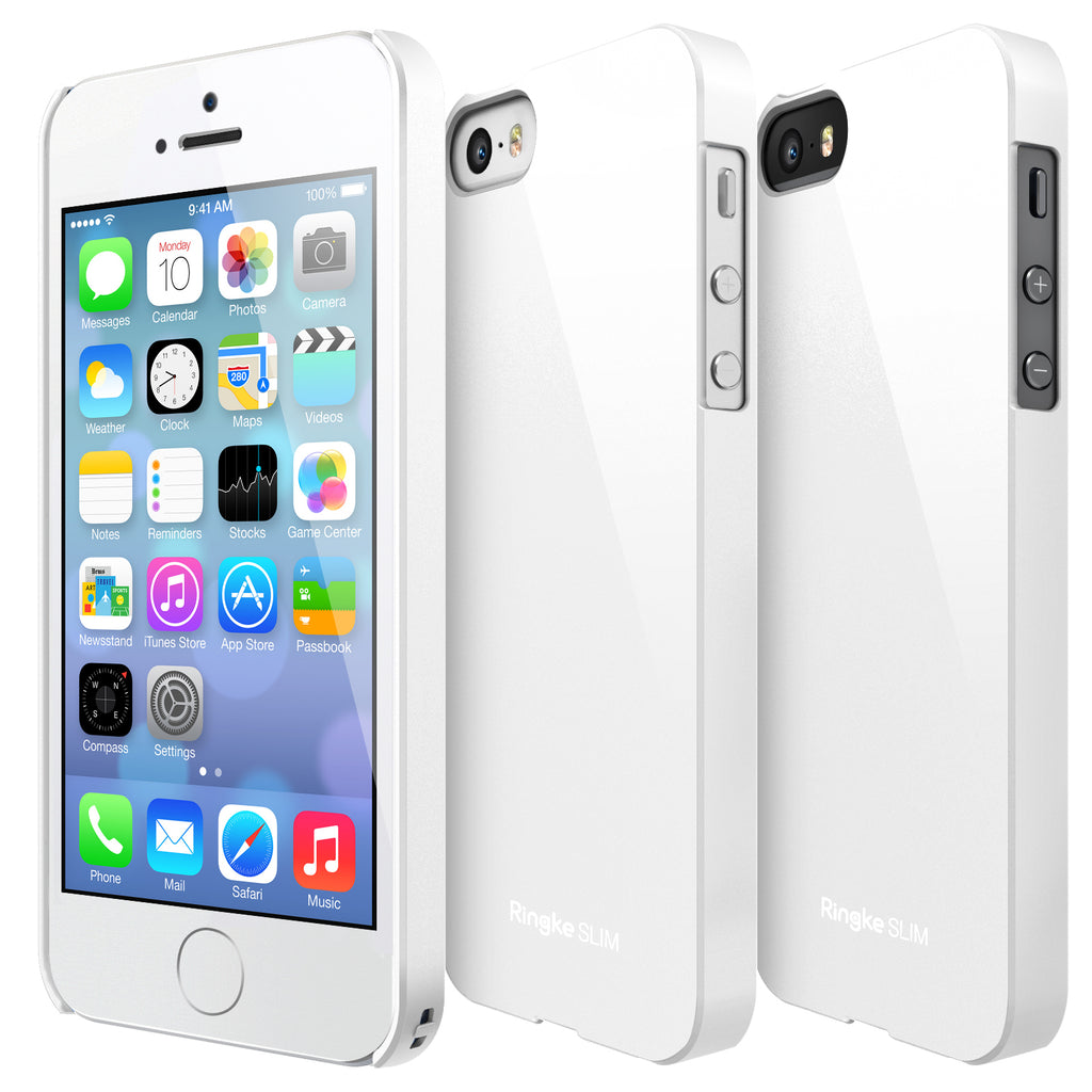 ringke slim lightweight hard pc thin case cover for iphone se 5s 5 main lf white