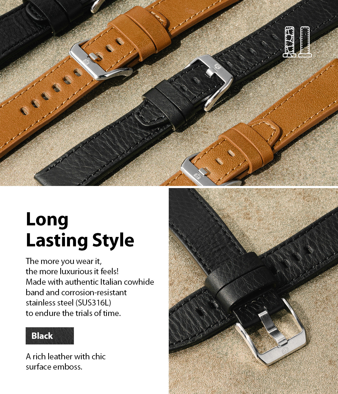 long lasting style - made with authentic italian cowhide band and corrosion resistnat stainless steel to endure the trials of time