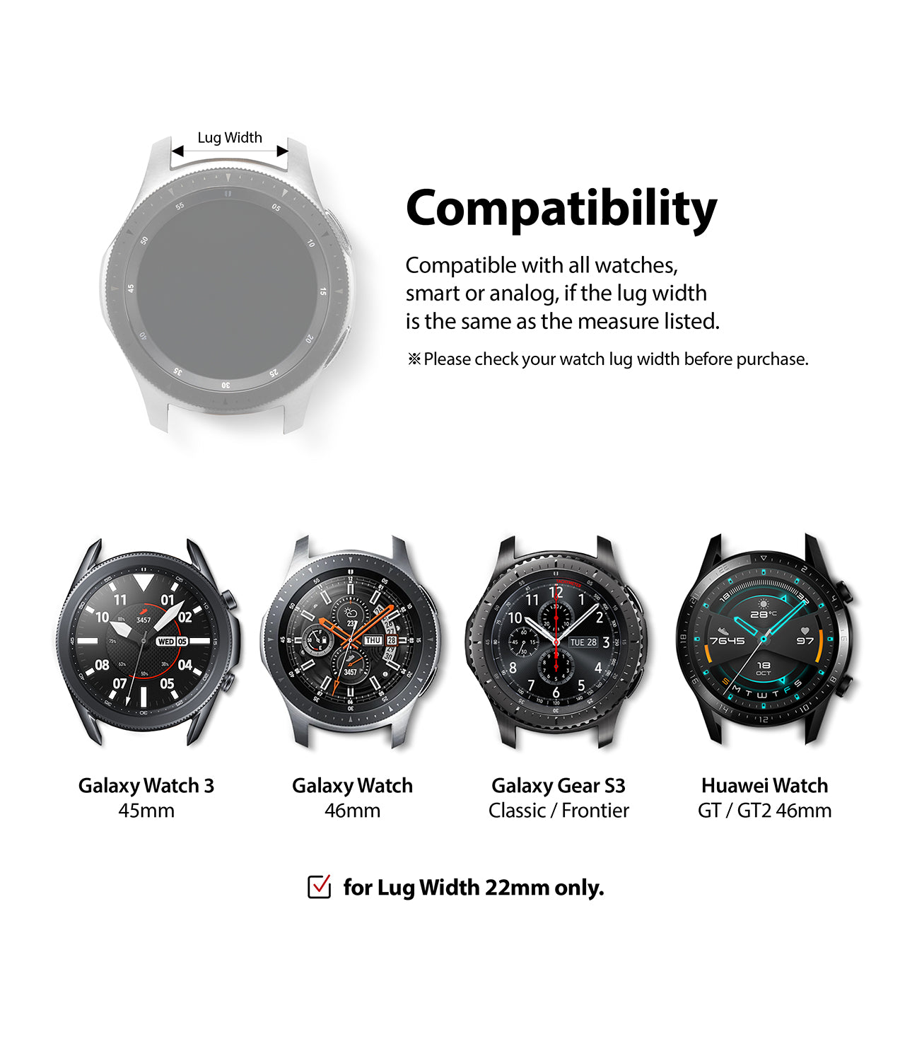 compatible with galaxy watch 3 45mm, galaxy watch 46mm, galaxy gear s3 classic / frontier, huawei watch gt / gt2 46mm