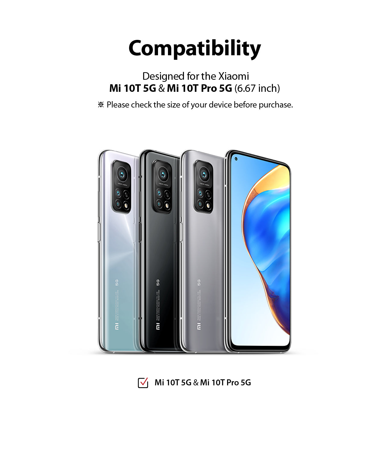 compatible with xiaomi mi 10t & 10t pro 5G