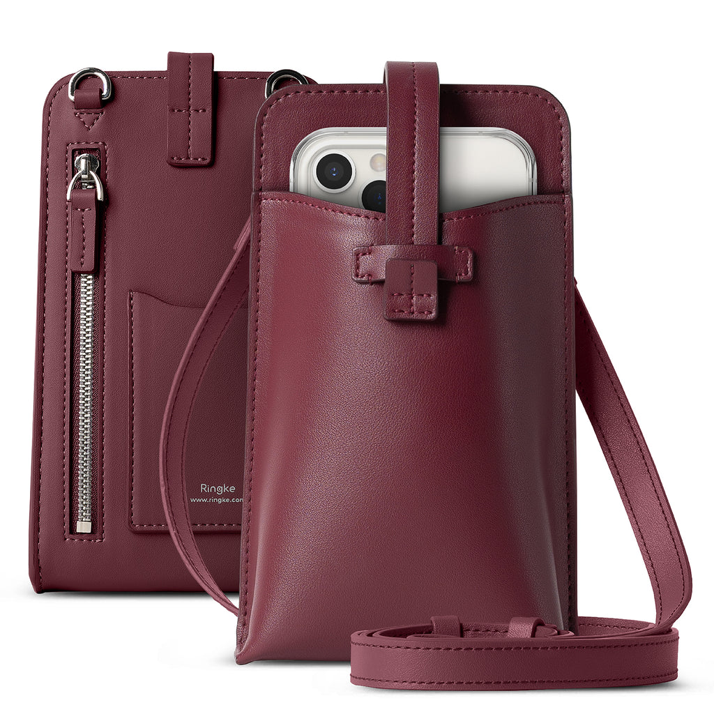 ringke mini cross bag pu leather for smart devices - burgundy