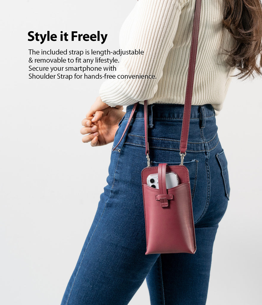 style it freely - the included strap is length-adjustable & removable to fit any style. secure your smartphone with shoulder strap for hands-free convenience
