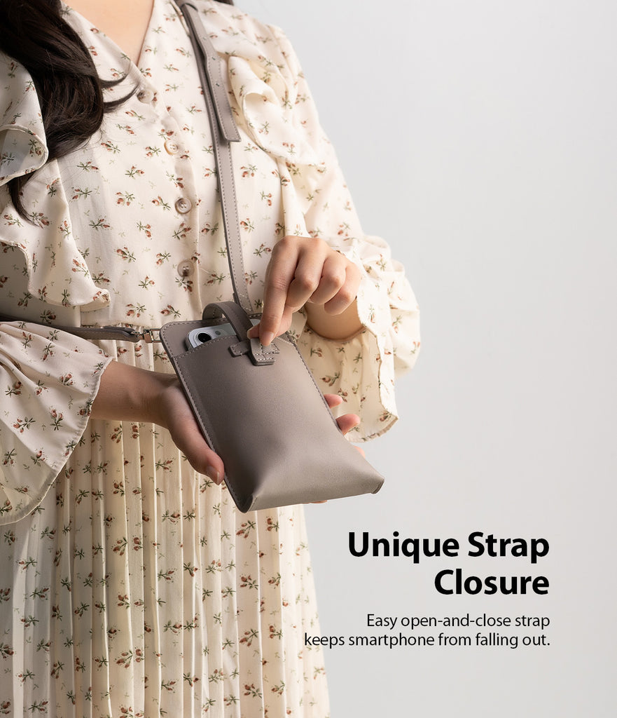 easy open and close strap keeps smartphone from falling out