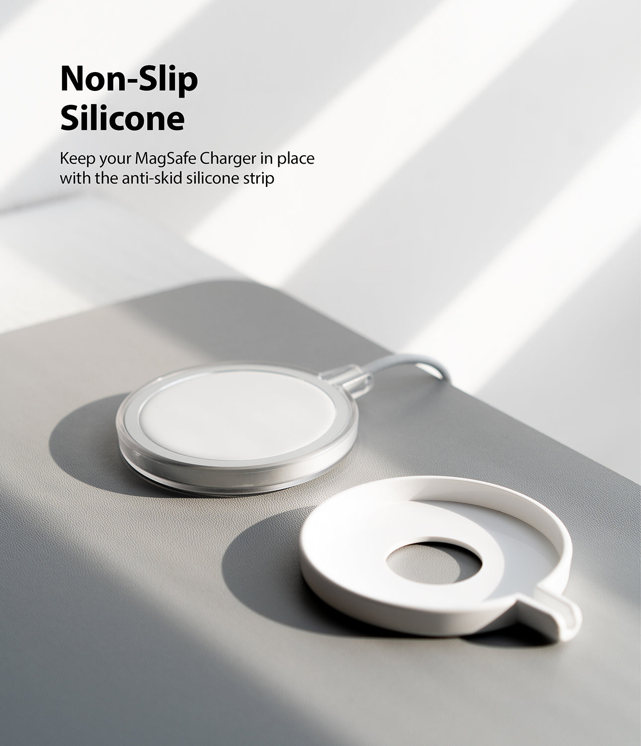 keep your macsafe charger in place with the anti-skid silicone strip