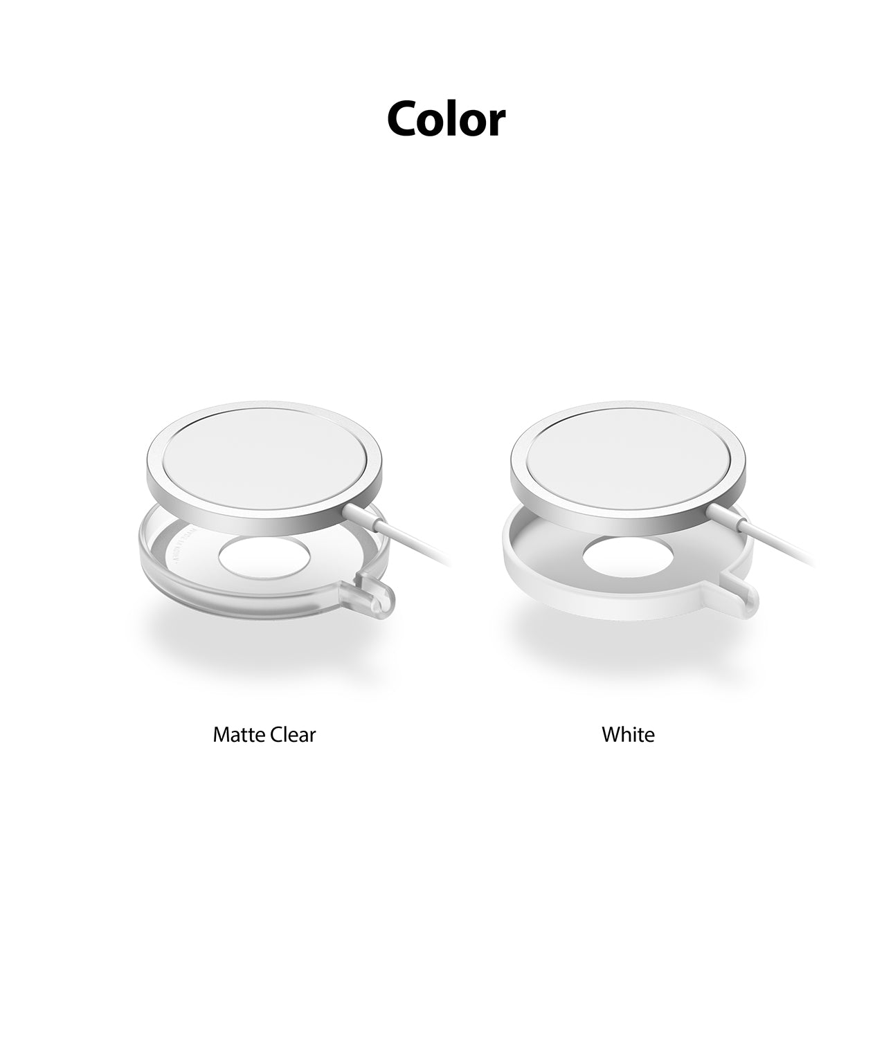 available in matte clear, white