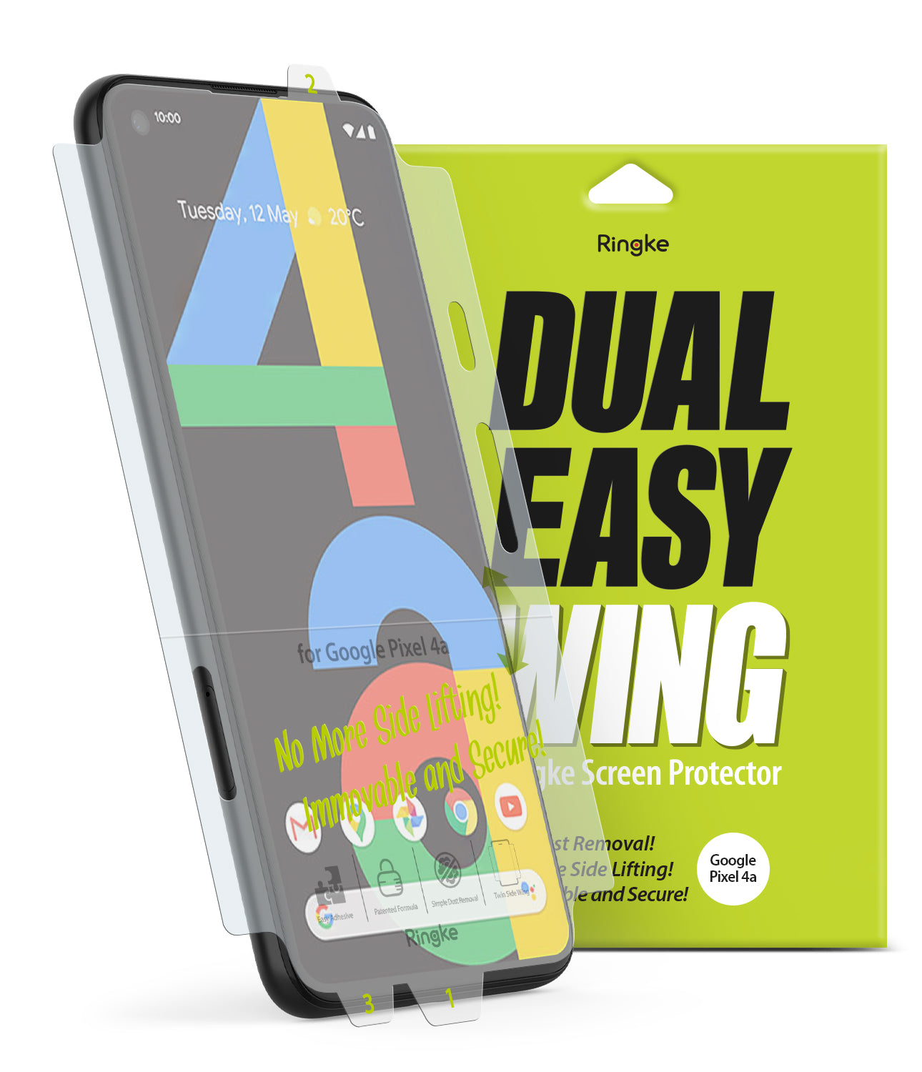 google pixel 4a screen protector - ringke dual easy film wing [2 pack]