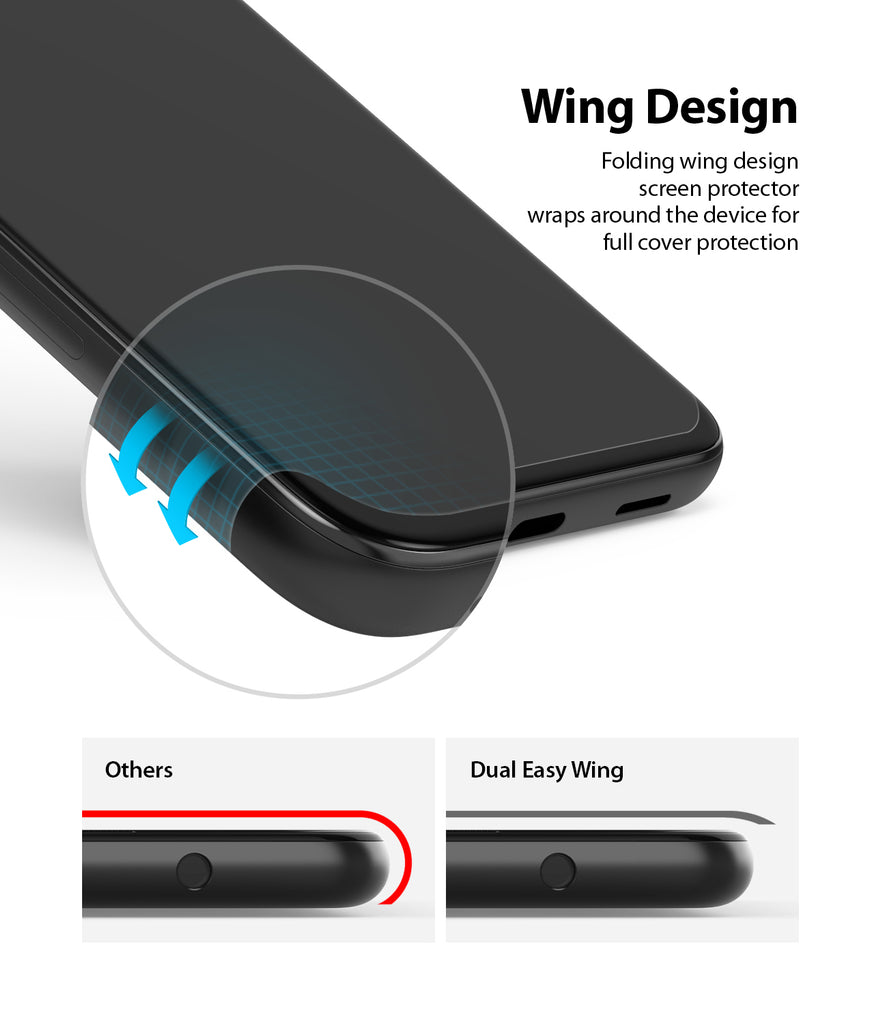 folding wing design screen protector wraps around the device for full cover protection