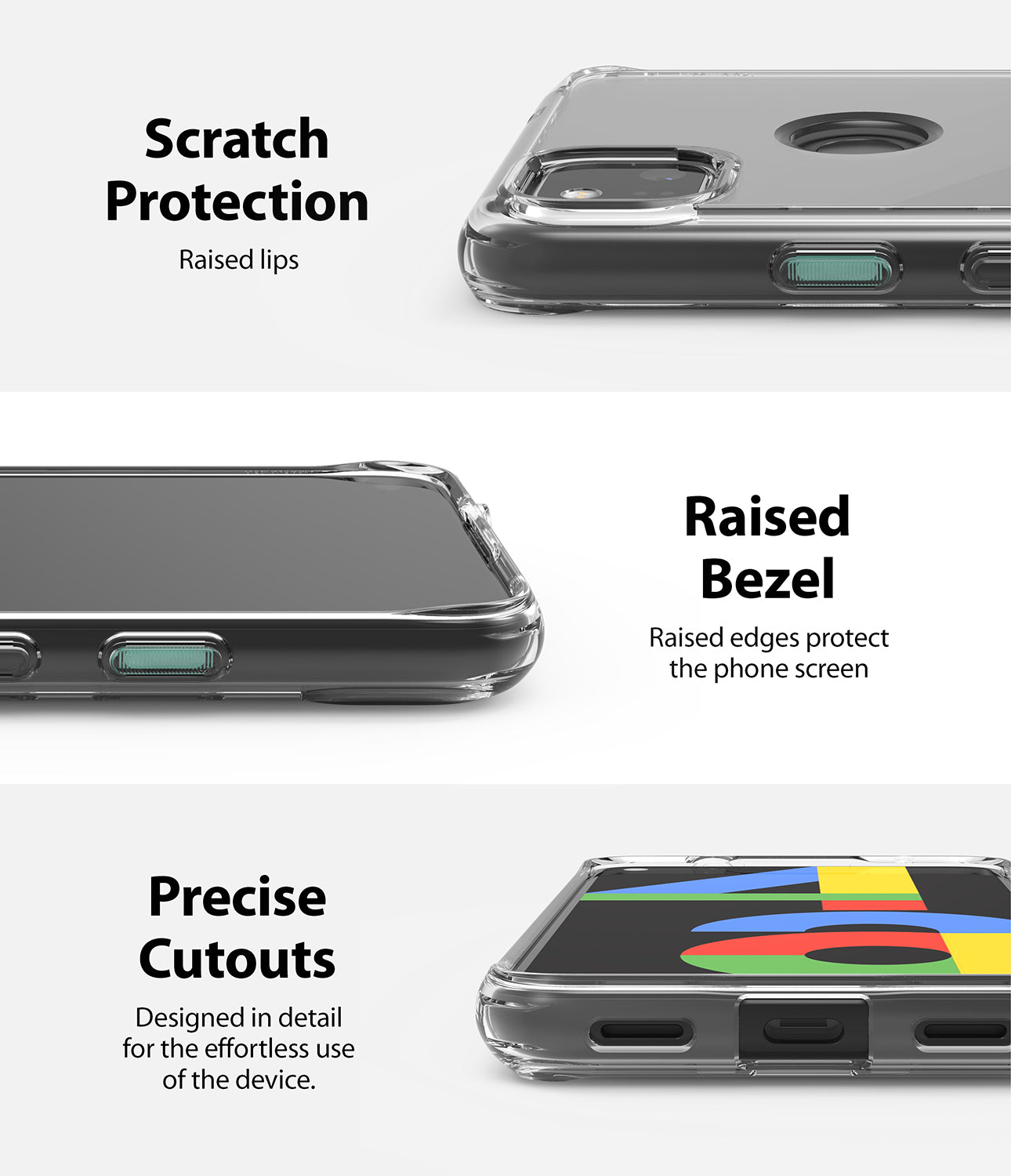 scratch protection raised lips / raised bezel to protect the phone screen / precise cutouts