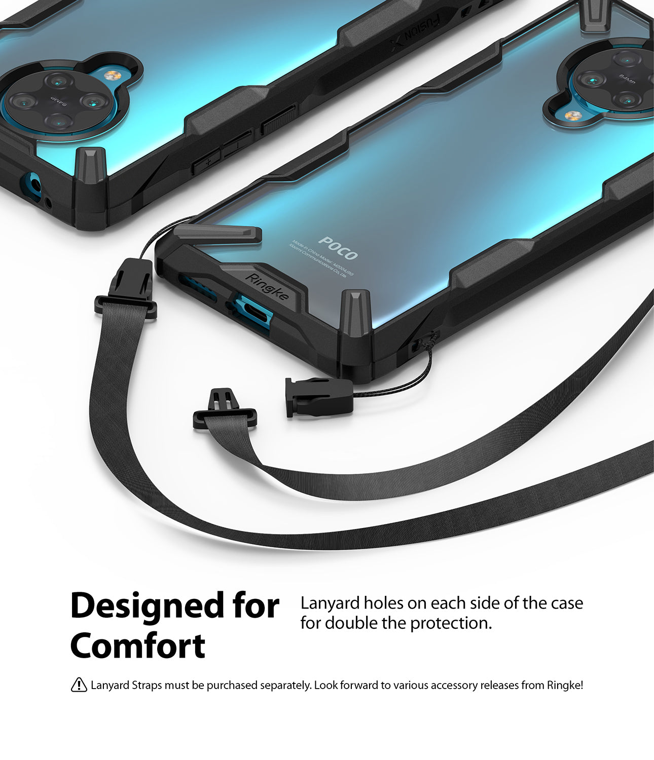 designed for comfort - lanyard holes on each side of the case for double protection