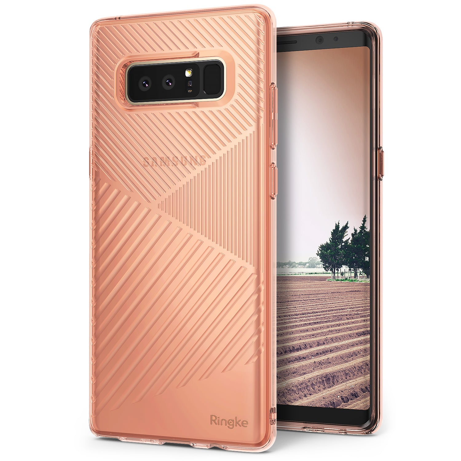 samsung galaxy note 8 ringke bevel case rose gold