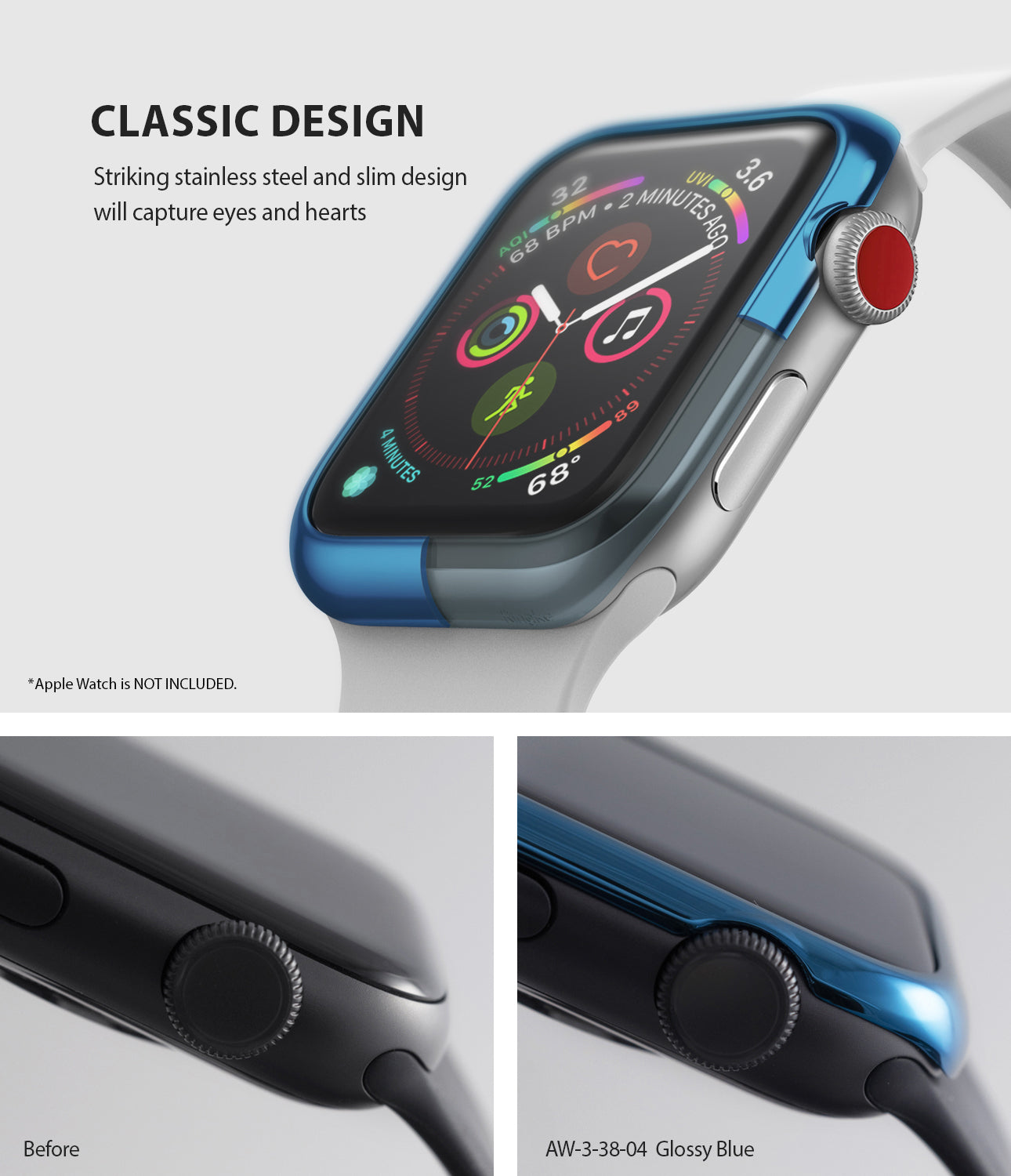 apple watch 3 2 1 38mm case ringke bezel styling stainless steel frame cover 38-04 classic design