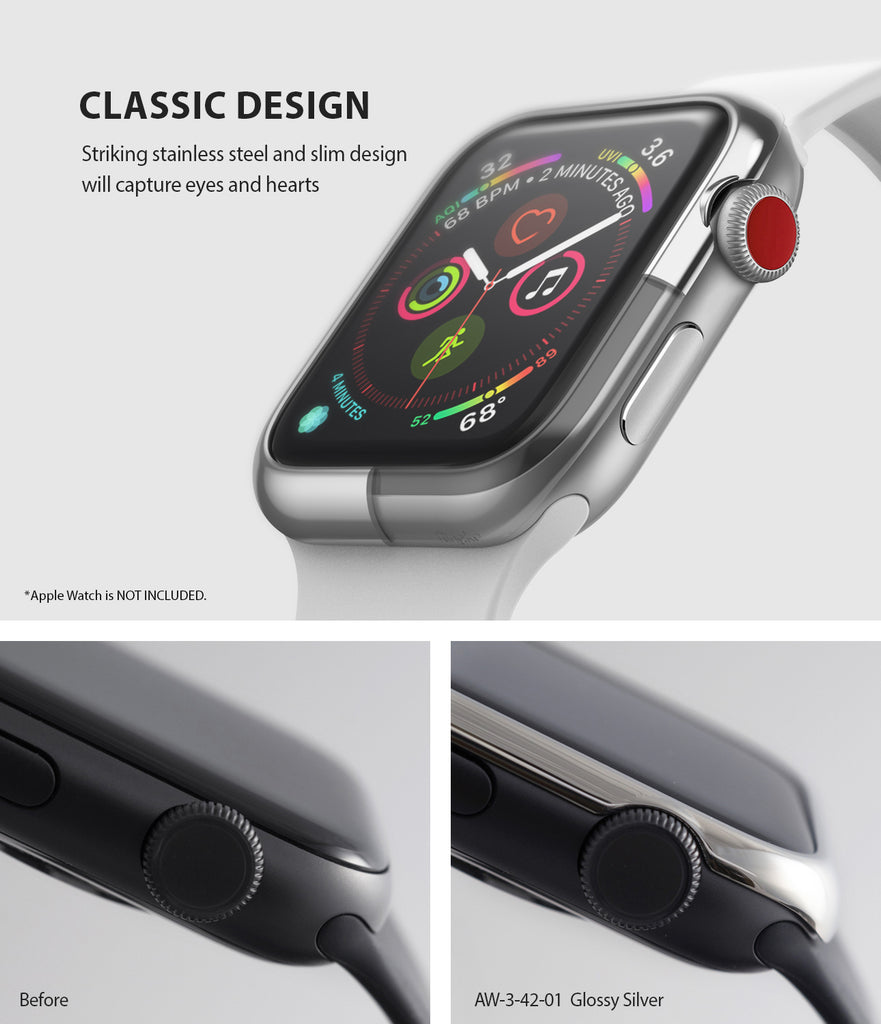 apple watch 3 2 1 42mm case ringke bezel styling stainless steel frame cover 42-01 classic design