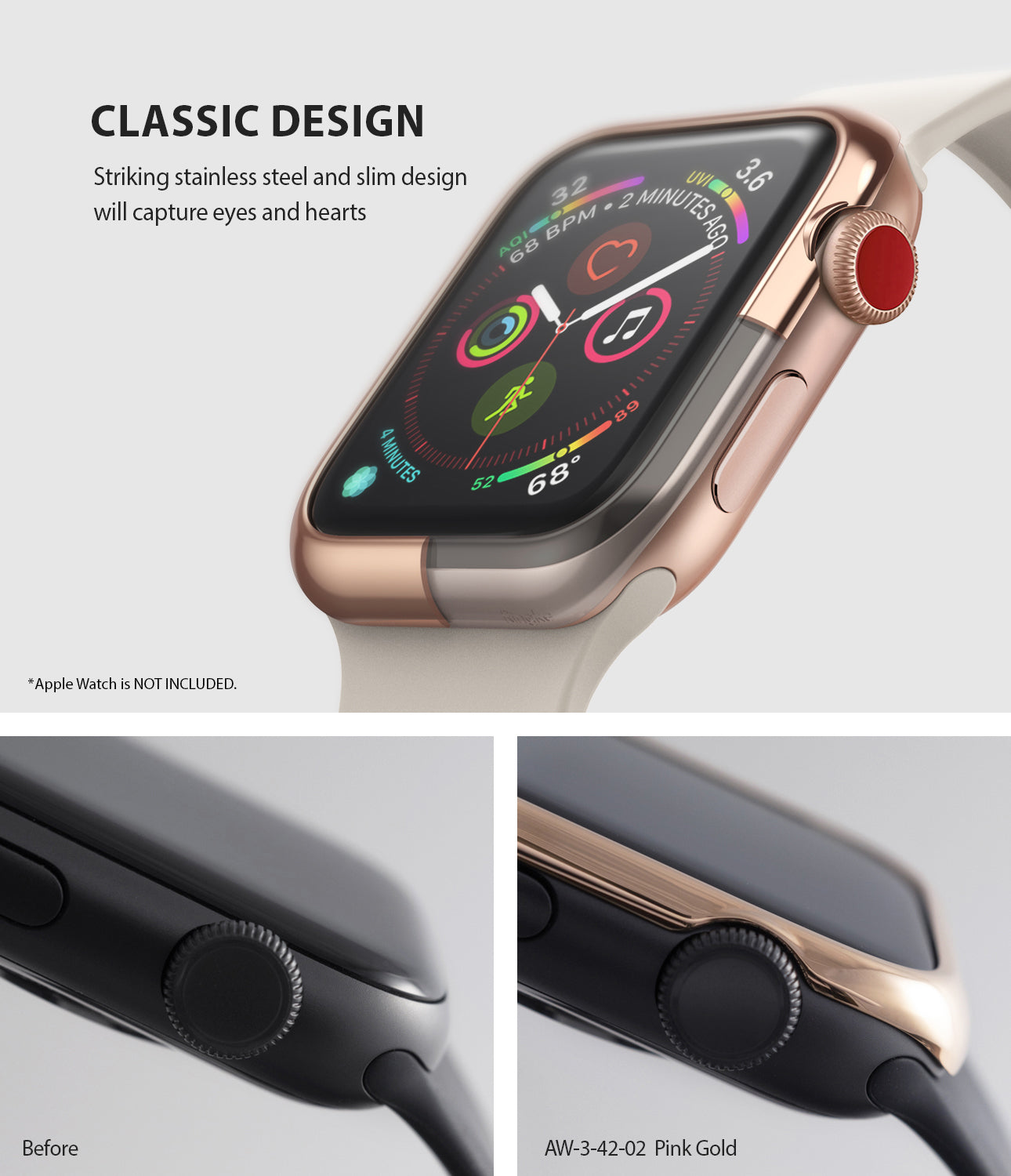 apple watch 3 2 1 42mm case ringke bezel styling stainless steel frame cover 42-02 classic design