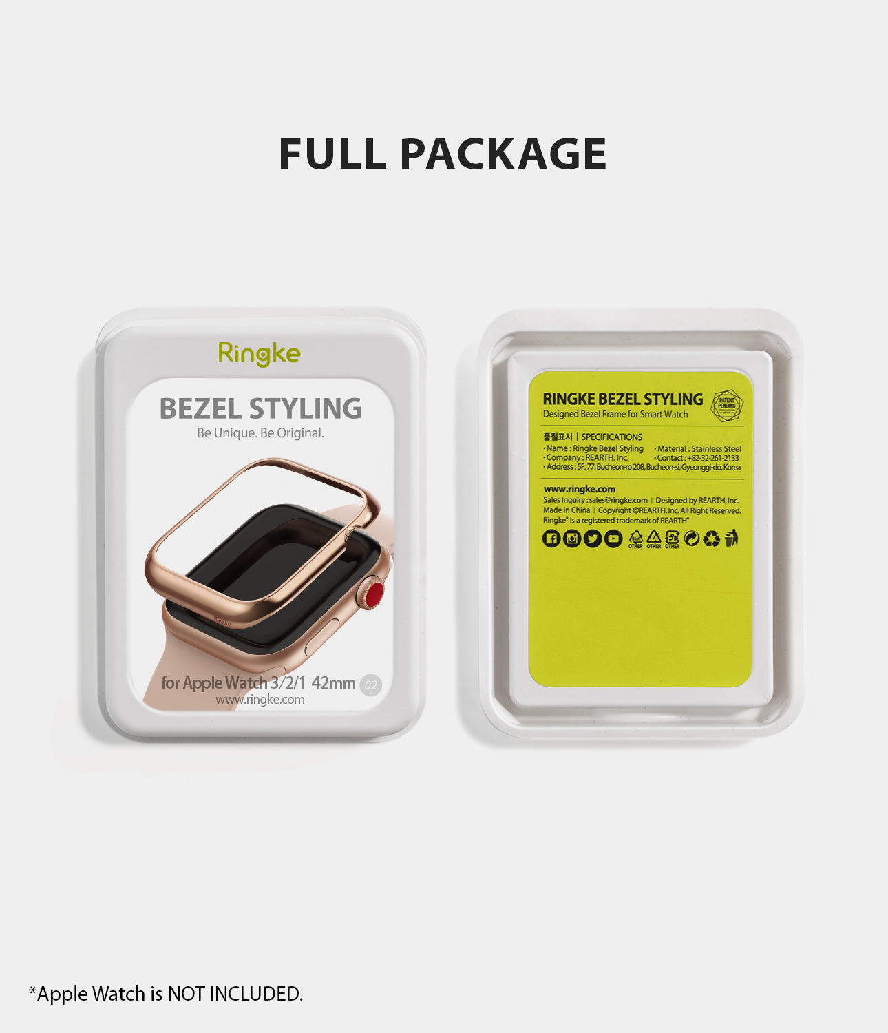 apple watch 3 2 1 42mm case ringke bezel styling stainless steel frame cover 42-02 full package