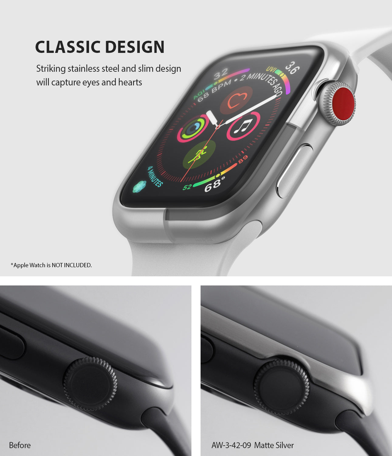 apple watch 3 2 1 42mm case ringke bezel styling stainless steel frame cover 42-09 classic design