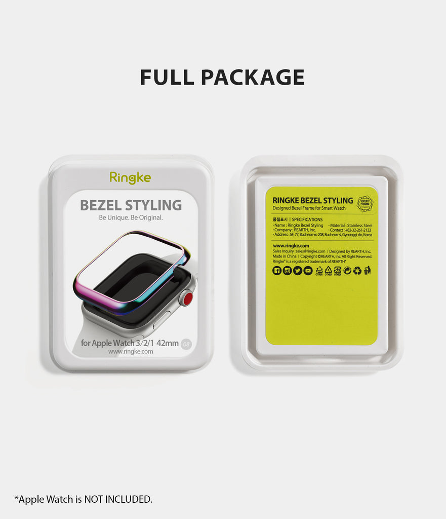 apple watch 3 2 1 42mm case ringke bezel styling stainless steel frame cover 42-08 full package