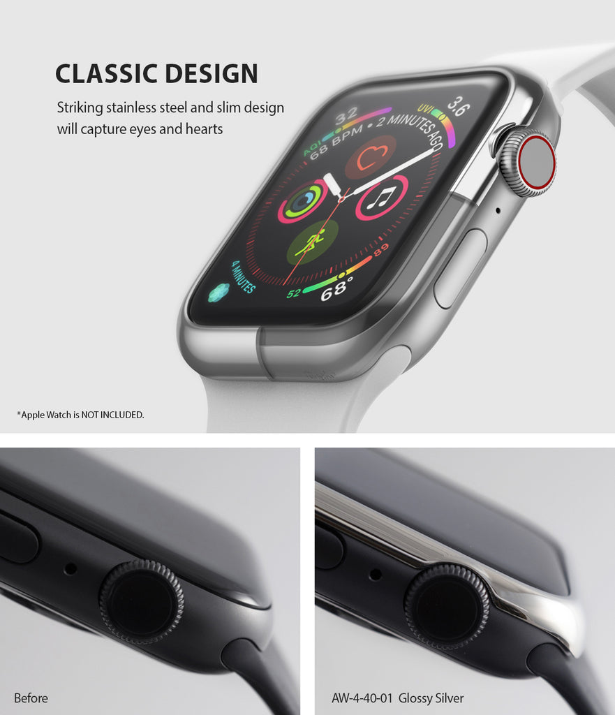 ringke bezel styling 40-01 glossy silver stainless steel on apple watch series 6 / 5 / 4 / SE 40mm classic design