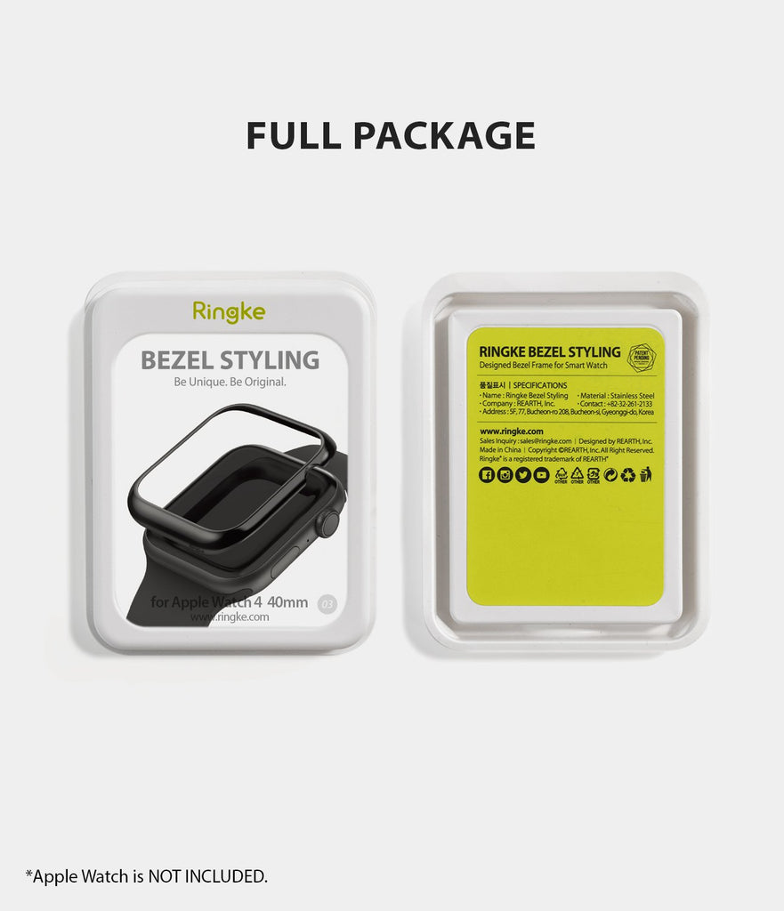 ringke bezel styling 40-03 glossy black stainless steel on apple watch series 5 / 4 40mm full package