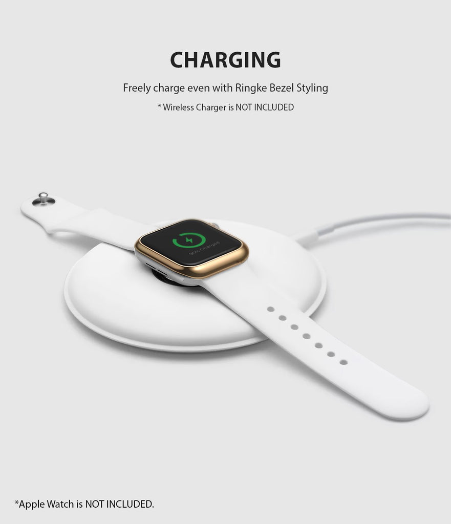 ringke bezel styling 40-05 glossy gold stainless steel on apple watch series 6 / 5 / 4 / SE 40mm wireless charging