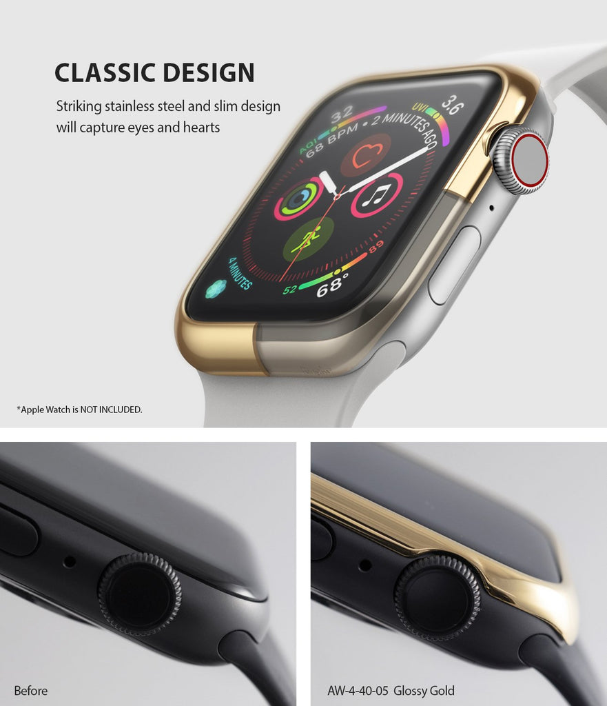 ringke bezel styling 40-05 glossy gold stainless steel on apple watch series 6 / 5 / 4 / SE 40mm classic design
